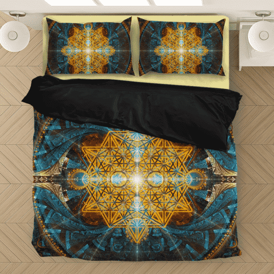 Flower Of Life Sacred Geometry Gold Blue Awesome Bedding Set
