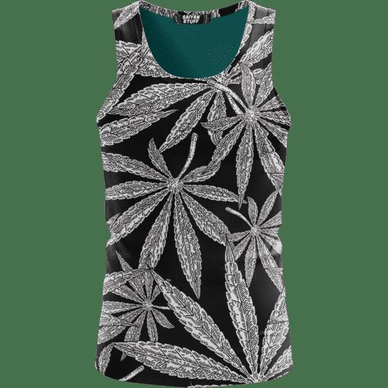 Weed Kush Mary Jane Leaves Black White Elegant Tank Top