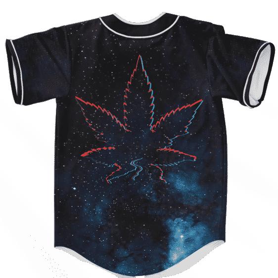 Galaxy Geometric Retro Marijuana Leaf 420 Weed Baseball Jersey
