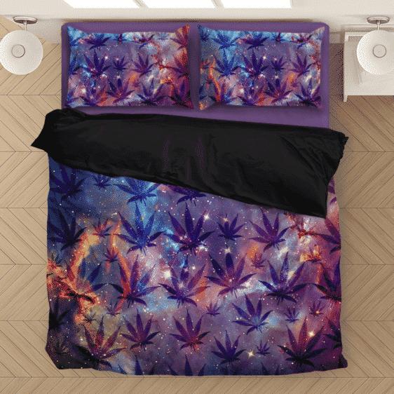 Galaxy Marijuana Hemp Weed Pattern Astonishing Bedding Set
