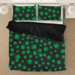 Ganja Mary Jane Kush Leaves Pattern Black Awesome Bedding Set