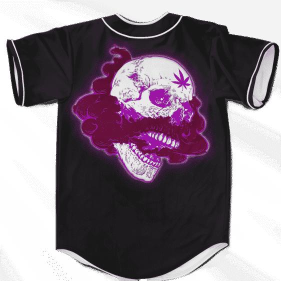 Glowing Purple Skull Smoke Weed 420 Marijuana Baseball Jersey