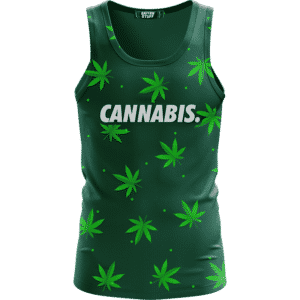 Green Cannabis Weed Pattern Minimal Art 420 Marijuana Tank Top