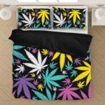 Hemp Doobie Ganja Colorful Patterns 420 Black Bedding Set