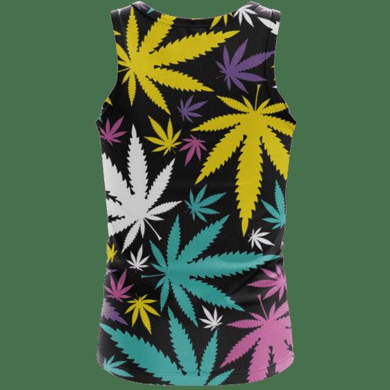 Hemp Doobie Ganja Colorful Patterns 420 Black Tank Top - Back