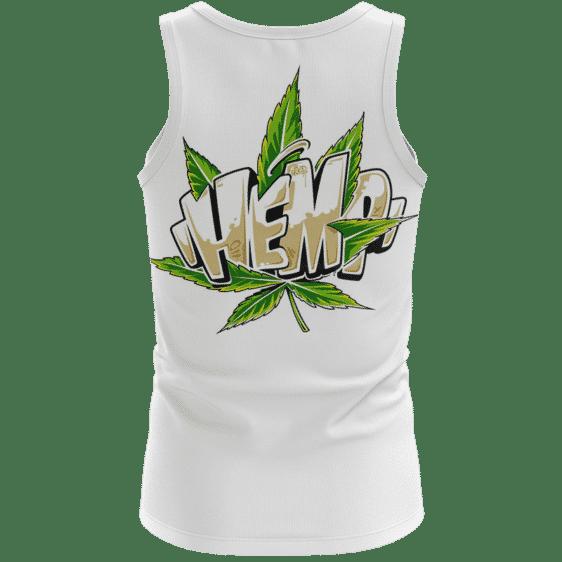 Hemp Graffiti Style Font All White 420 Weed Dope Tank Top - back