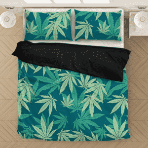 Hemp Leaves Marijuana Ganja Kush Elegant Bedding Set