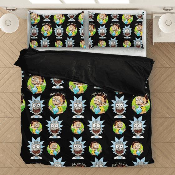 High for Life Rick & Morty 420 Marijuana Bedding Set