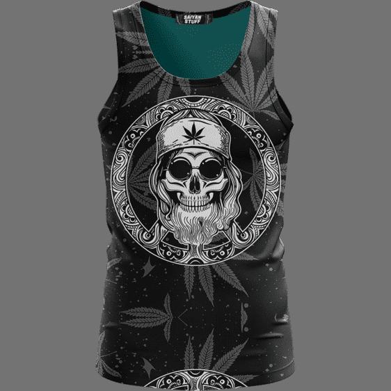 Hippie Skull Awesome Marijuana Leaves Pattern Black Tank Top