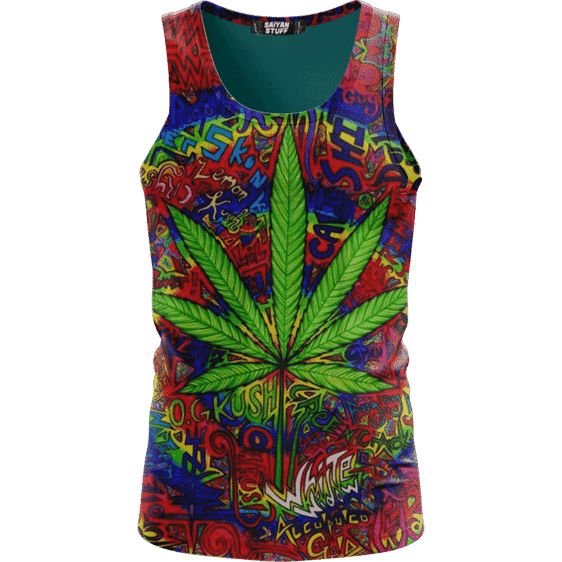 Hippie Style Colorful Marijuana Design Trippy Dope Tank Top
