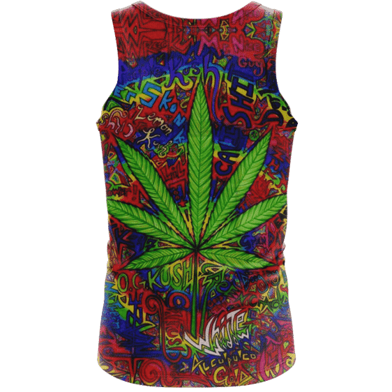 Hippie Style Colorful Marijuana Design Trippy Dope Tank Top - Back