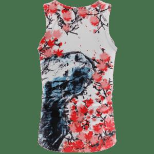 Japanese Art Painting Cherry Marijuana Blossoms 420 Tank Top Back