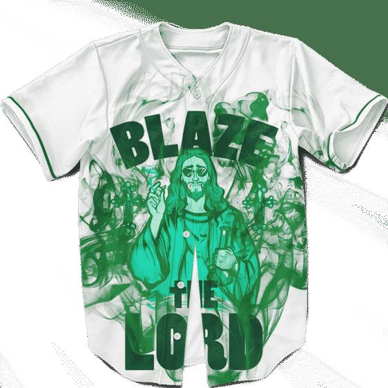 Jesus Smokes Blaze Funny Art 420 Marijuana Baseball Jersey