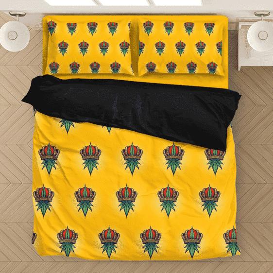 King Of Marijuana Awesome Seamless Pattern 420 Bedding Set