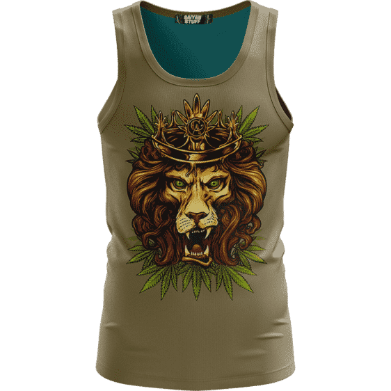 King Of Marijuana Dope And Awesome Lion Brown Tank Top