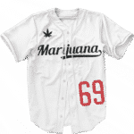 LA Dodgers Inspired Marijuana Smokey 69 White Baseball Jersey