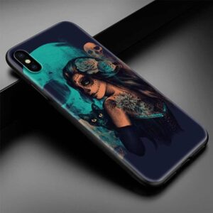 Lady With Skull Make-Up Holding Cat Skull iPhone 12 Case