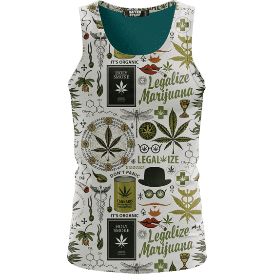 Legalize Marijuana Seamless Pattern Dope Art Awesome Tank Top