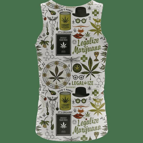 Legalize Marijuana Seamless Pattern Dope Art Awesome Tank Top - back