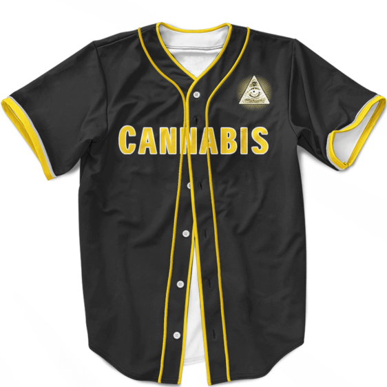 MLB Padres Jersey Black Gold Cannabis Illuminati Baseball Jersey