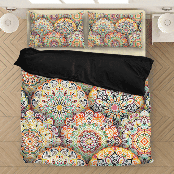 Mandala Abstract Colorful Relaxing Beige Bedding Set