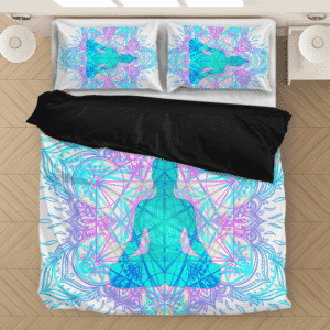 Mandala Meditation Yoga Spiritual White Elegant Bedding Set