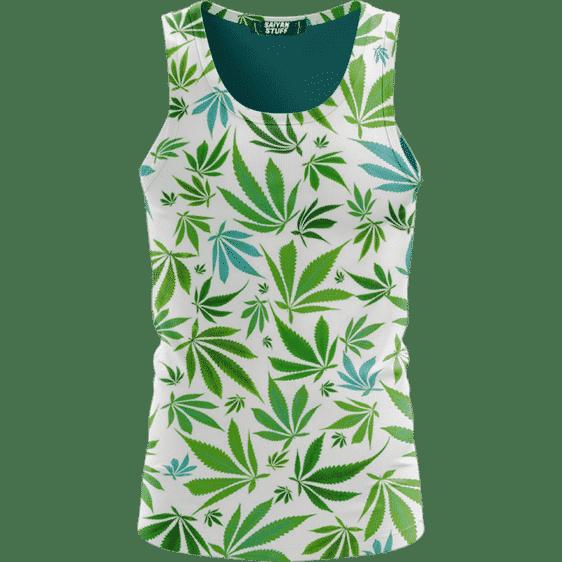 Marijuana 420 Weed Hemp Leaves Green White Dope Tank Top