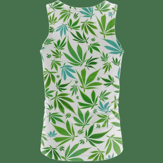 Marijuana 420 Weed Hemp Leaves Green White Dope Tank Top - Back