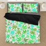 Marijuana 420 Weed Hemp Leaves Neon White Dope Bedding Set