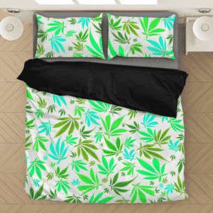 Marijuana 420 Weed Hemp Leaves Neon White Dope Bedding Set