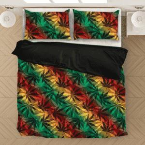 Marijuana 420 Weed Reggae Colors Amazing Fantastic Bedding Set