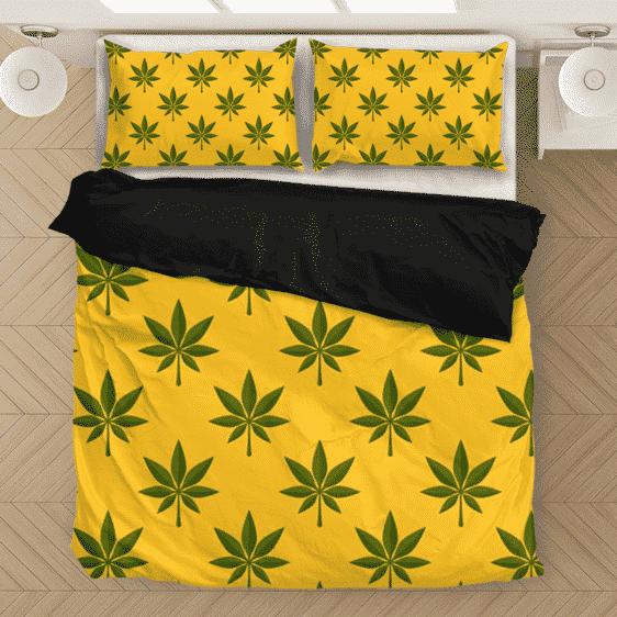 Marijuana 420 Weed Yellow Seamless Pattern Wonderful Bedding Set