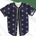 Marijuana Cool And Awesome Pattern Navy Blue Baseball Jersey