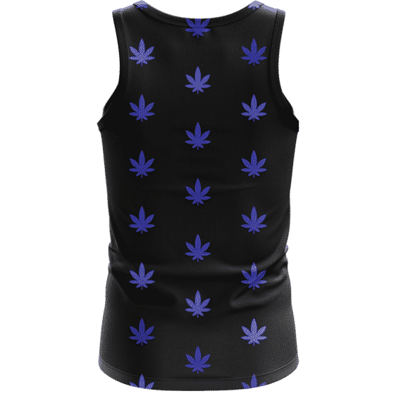Marijuana Cool And Awesome Pattern Navy Blue Simple Tank Top - back