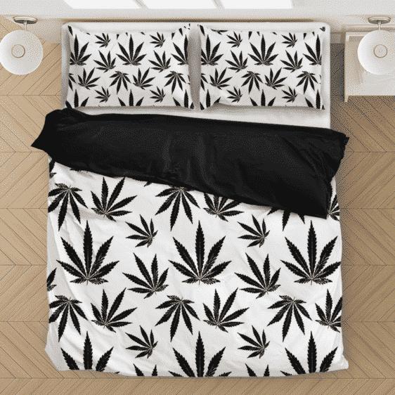 Marijuana White Black Pattern Awesome Minimalist Bedding Set