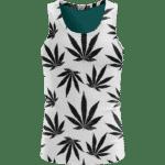 Marijuana Cool White Black Pattern Awesome Tank Top