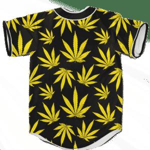 Marijuana Cool Yellow Black Pattern Awesome Baseball Jersey