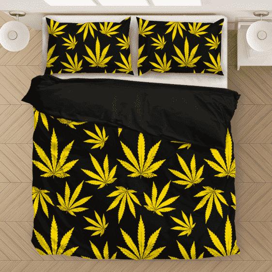 Marijuana Cool Yellow Black Pattern Awesome Bedding Set