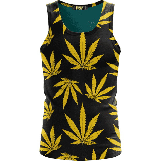 Marijuana Cool Yellow Black Pattern Awesome Tank Top