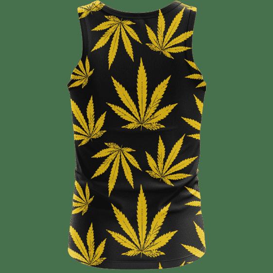Marijuana Cool Yellow Black Pattern Awesome Tank Top - back