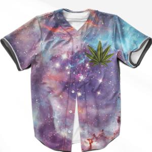 Marijuana Leaf Logo Galaxy Themed Artwork Dope Baseball Jersey