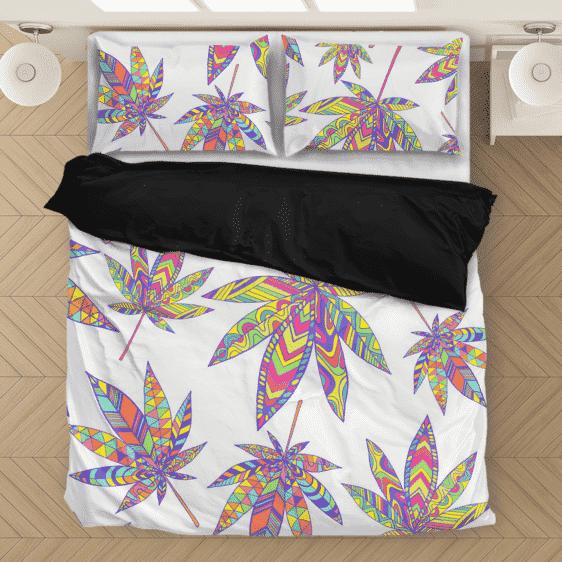 Marijuana Leaf Rainbow Colors All Over Print Bedding Set