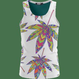 Marijuana Leaf Rainbow Colors On Print White Awesome Tank Top