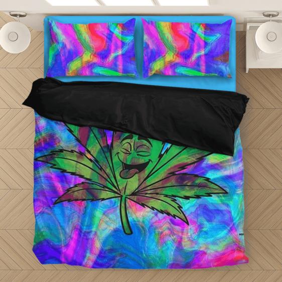 Marijuana Leaf Smiling Trippy Colors Weed 420 Ganja Bedding Set
