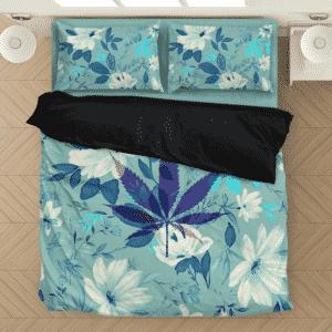 Marijuana Leaf Teal Beautiful Cute Floral Bedding Set