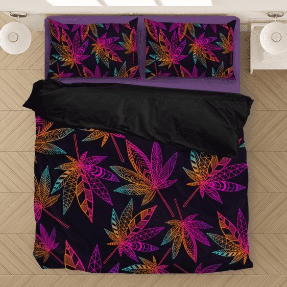 Marijuana Leaf Trippy Colors All Over Print Cool Bedding Set