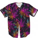 Marijuana Leaf Trippy Colors All Over Print Cool Baseball Jersey