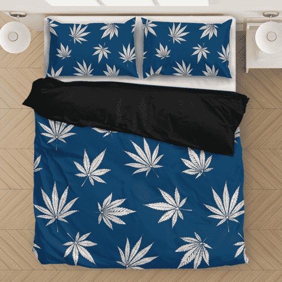 Marijuana Leaves Print Dark Blue Spectacular Bedding Set