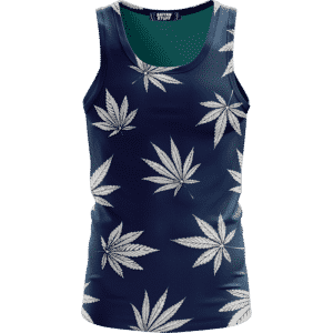 Marijuana Leaves Cool All Over Print Dark Navy Blue Tank Top