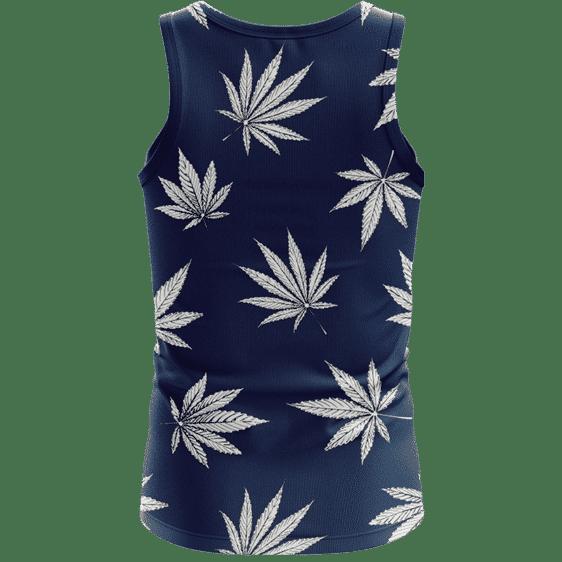 Marijuana Leaves Cool All Over Print Dark Navy Blue Tank Top - Back